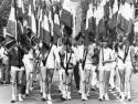 Défilé des jeunes lors des championnats fédéraux de gymnastique à Annonay (Ardèche) en 1985