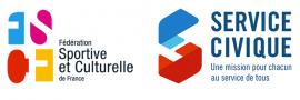 logo service civique et fédération sportive et culturelle de france