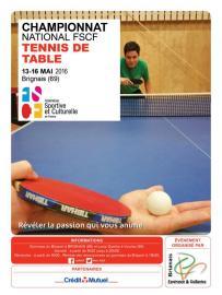 FSCF - Le championnat national de Tennis de table se déroulera les 14 et 15 mai 2016 à Brignais (69).