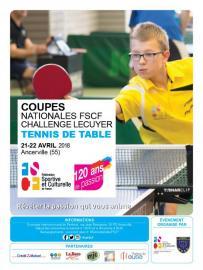 Challenge Rober Lecuyer - coupes nationales par équipes FSCF de tennis de table à Ancerville