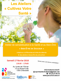 """Affiche """"Bien être en douceur"""" - Atelier Cultivez Votre Santé 17/02/2018"""