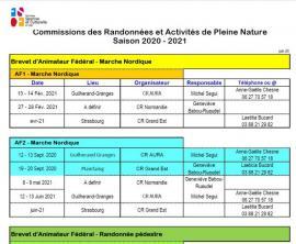calendrier activités de pleine nature 2020-2021
