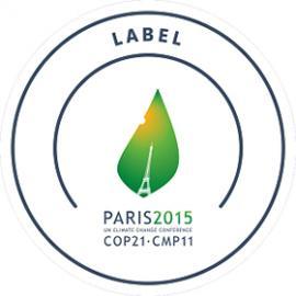 logo de la COP21. Tour Eiffel sur fond de feuille et soleil en coin supérieur