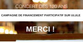 Remerciements camapgne de dons Ulule concert des 120 ans FSCF