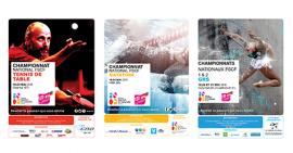 Annonce des manifestations nationales FSCF championnats nationaux 1 et 2 de GRS à Chalons en Champagne, championnat national de natation à Vittel, championnat national de tennis de table à Obernai
