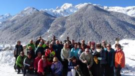Photo de groupe séjour de raquettes à neige à Ceillac